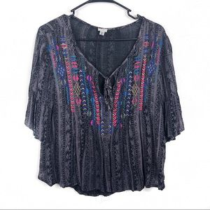 UO Ecote New Peasant Embroidered Boho Top